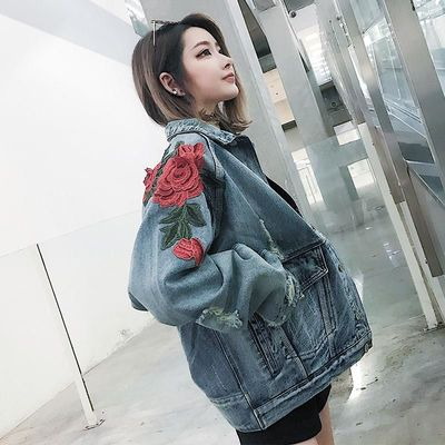 Jeans Coat Women Rose Clothes Hip Hop Coat Fashion Flowers Jackets Us Size S-XL $118.40