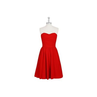 Red Azazie Kaiya - Chiffon Knee Length Sweetheart Back Zip Dress - Charming Bridesmaids Store