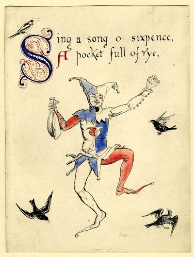 """Sing a song of sixpence"""", illustration to a nursery rhyme, 1865; jester surrounded by blackbirds Pen and black ink, with watercolour Walter Crane"""