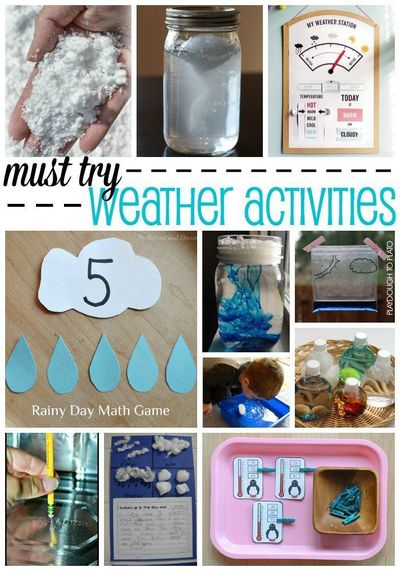 Activities for ages 3 to 6. These must-try weather activities for kids are fun, hands-on ways to teach about temperatures, clouds, rain�€� even tornadoes!! Whethe