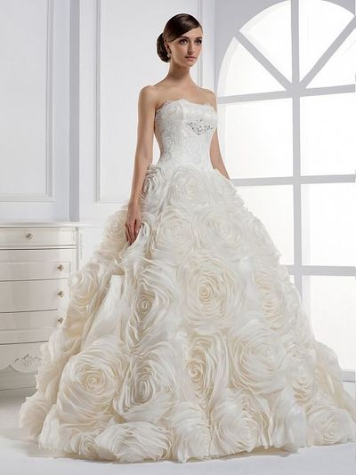 Strapless Ball Gown Lace wedding dress