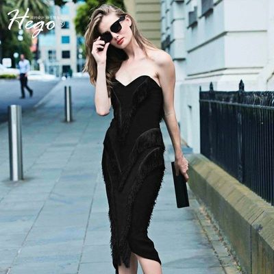Strapless Sexy Attractive Fringe Slimming It Girl Summer Formal Wear Midi Dress Dress - Bonny YZOZO Boutique Store