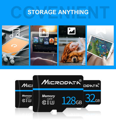 MicroData 16GB 32GB 64GB 128GB Class 10 V30 High Speed Max 80Mb/s TF Memory Card With Card Adapter For Mobile Phone Tablet GPS Camera Drone