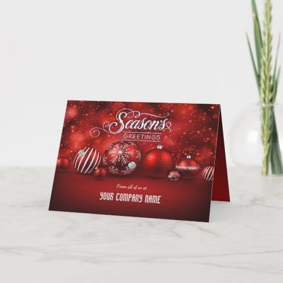 Red Bokeh Sparkle Elegance Corporate Folded Holiday Card