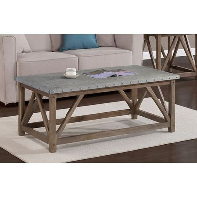 Zinc top bridge coffee table shopping for Coffee tables overstock