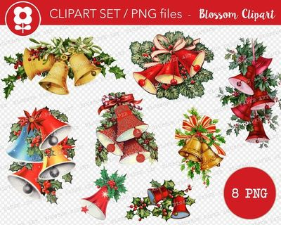 Christmas Bells PNG Vintage Christmas Clip Art Christmas Ornament Images PNG Vintage Graphic Christmas Clip Art