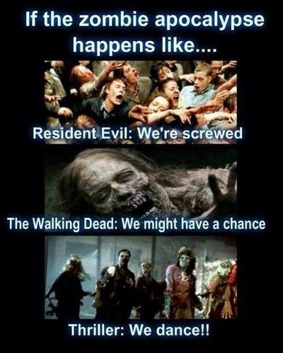 Because the first thing you do when you're a zombie is dance about it