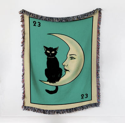 Woven Tapestry/Throw Blanket - The La Luna Cat Card - Cotton- 50 x 60 inches $90.00