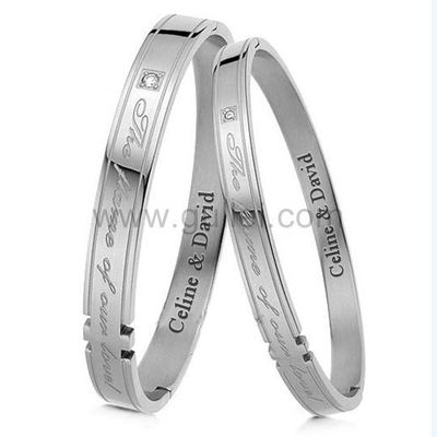 Custom Engraved His and Hers Couples Relationship Bracelets by Gullei.com