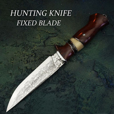 Handmade Hunting Knife Damascus vg10 steel Wooden Handle Leather Scabbard Groomsmen Gift Home Tool $138.70