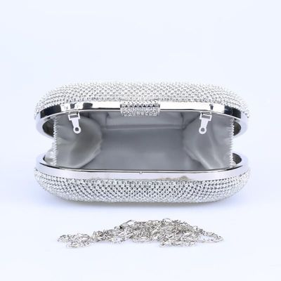 Silver Crystal Diamond Women Evening Clutches Bag