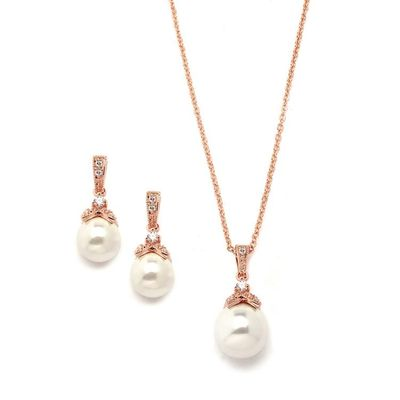 Rose Gold Bridal Earrings and Necklace Set $52.00