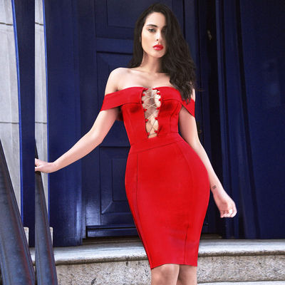 2017 Sexy Deep V Hollow Out Lace Up Off The Shoulder Club Bandage Dress