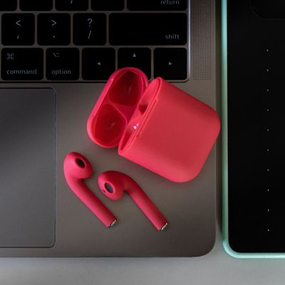 Wireless Red Pod Earbuds - In-Ear Bluetooth Headphones With Free Silicone Case For iOS & Android. $59.99