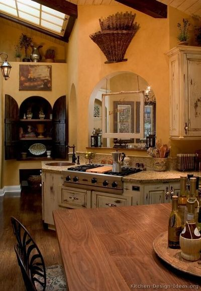 Kitchen of the Day: French Country Kitchen - Vaulted Ceiling, Skylight and Archways