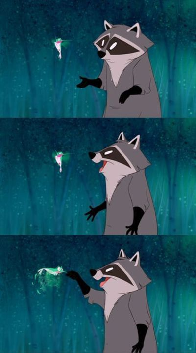 Disney Challenge Day 11: Favorite Animal Sidekick, Meeko and Flit from Pocahontas. They are so funny! :D