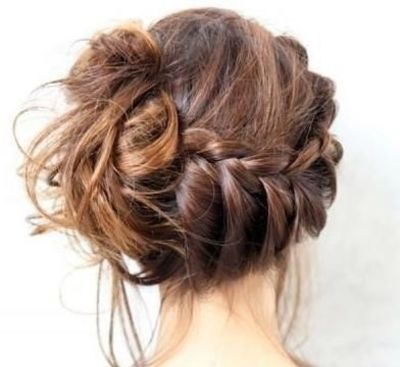 half braid updo - maybe something kinda like this for pam's wedding, but less messy.