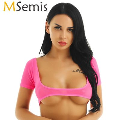 MSemis Women See Through Sheer Mesh Crop Tops Short Sleeves Open Chest Deep U Neck Transparent Sexy Vest Bra Tank Top T-Shirt