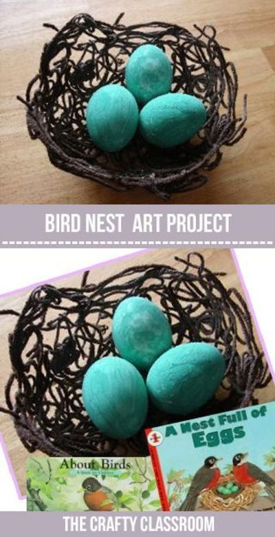 These little yarn nests make a great craft for Spring. Build your nest a day ahead of time for the glue to dry. And have scrambled eggs for breakfast so you don