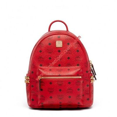 MCM Small Stark Side Studs Visetos Backpack In Red