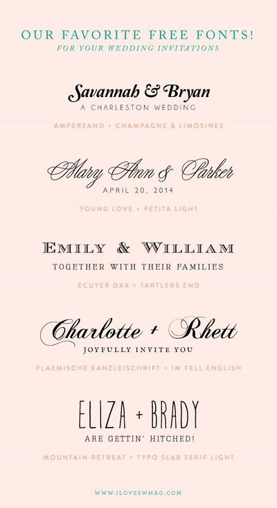 free font combinations for wedding invitations || iloveswmag.com
