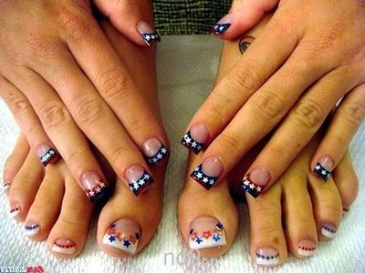 Star Spangled Nail Designs Red Nails Blue Nails Red Whit
