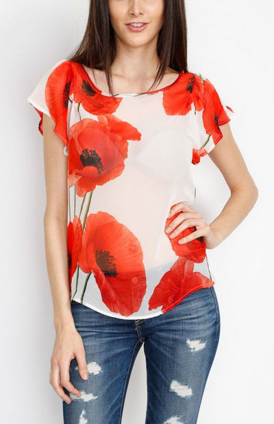Ivory Red Poppy Top