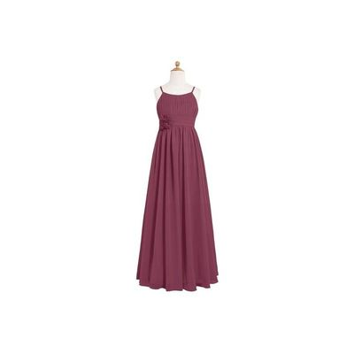 Mulberry Azazie Astrid JBD - Chiffon Scoop Floor Length Back Zip Dress - Simple Bridesmaid Dresses & Easy Wedding Dresses