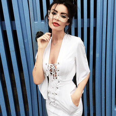 2017 Sexy White Deep V Lace-Up Batwing Sleeve Summer Short Club Dress