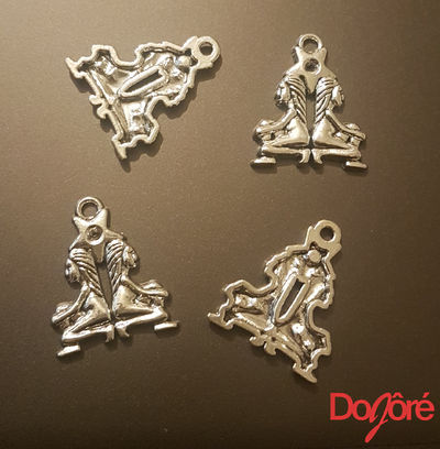 Pack of 10 Silver Colour Gemini Twin Charms. Zodiac, Astrology and Star Sign Pendants. 24mm x 20mm £5.99