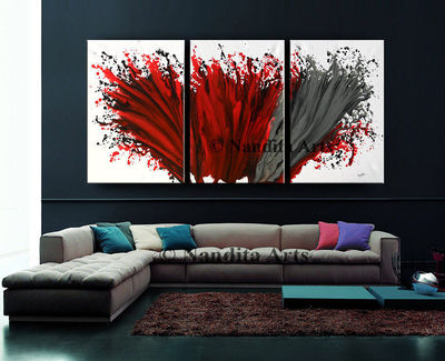 """Sale - Abstract Painting Red Wall Art Modern Painting 72"""" Red Contemporary Home Decor for Living room or office decor by Nandita albright $648.00"""