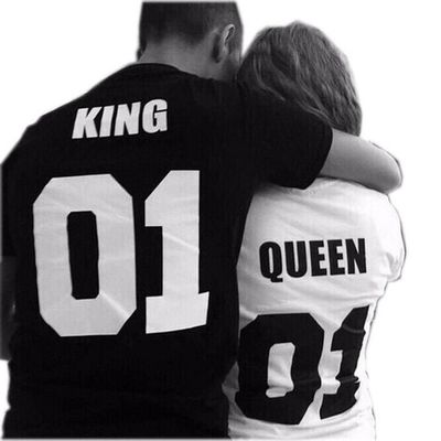 King Letter Print Couple Matching T-shirts Casual Cotton Tees Valentine's Day Gift $20.00
