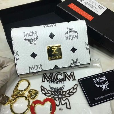 MCM Heritage Visetos Trifold Leather Wallet In White
