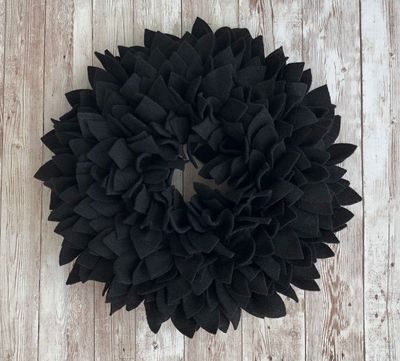 Black Felt Wreath - 2 sizes! Great for Indoor or Outdoor (covered) Use. $44.99