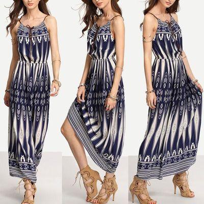 GZDL Hot Sale New Style Fashion Boho Women's Halter Sleeveless Long Maxi Printing Sundress Summer Beach Dresses CL2958 $34.00
