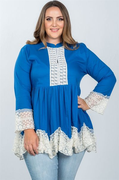 20% discount with BESTDEAL at checkout! Ladies fashion plus size boho contrast lace trim babydoll tunic top $24.00