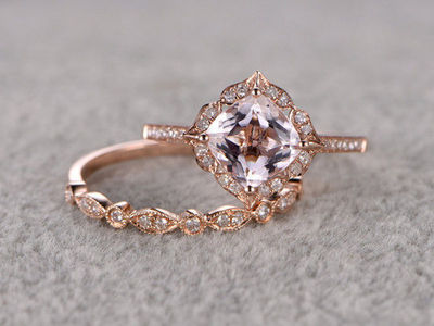 Payment plan for special customer:2pcs Morganite Bridal Ring Set Engagement ring Rose gold Diamond wedding band 14k 7mm Cushion size 12 A$566.00