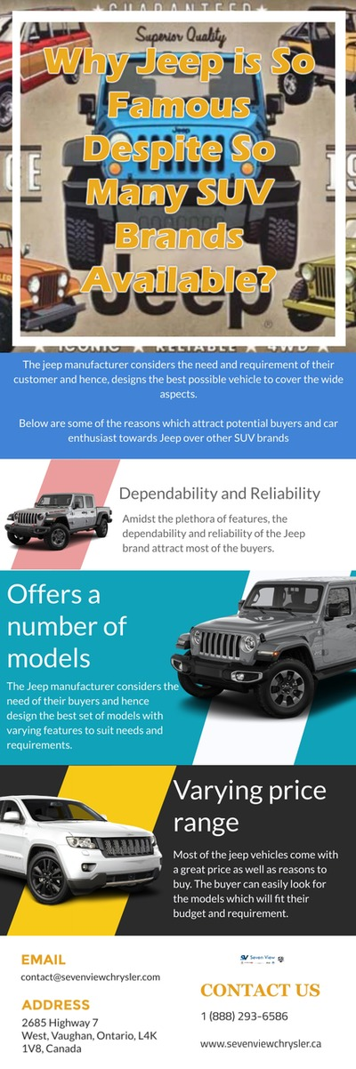Moreover, the Jeep Toronto dealership stores are well known to offer quality customer service to their loyal customers before as well as after the sales. https://sevenviewchryslers.blogspot.com/2019/04/why-jeep-is-so-famous-despite-so-many.html