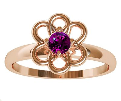 Purple Flower Ring Rose Gold Solitaire Ring Amethyst Ring Flower Ring Leaves Ring Purple Branch Ring Edwardian Jewelry Engagement Gift $278.50