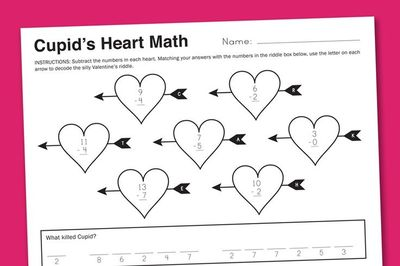 Cupid Heart Math Free Worksheet from PagingSupermom.com #worksheets #math #valentines #printables