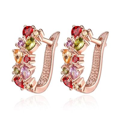 K GOLD ZIRCON FASHION SELLING DAZZLING COLORFUL ZIRCON LADY EAR CLASP
