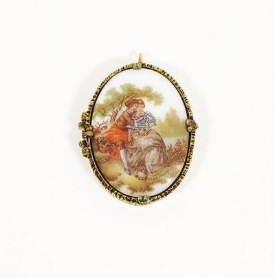 Fragonard Cameo Perfume Locket Vintage 1950s Victorian Revival French Porcelain Gold Tone European Lovers Pendant by Mary Chess $22.00