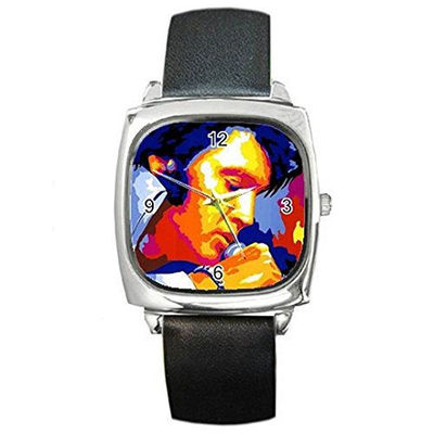 Artisitic Elvis, Mens or Womens Silver Square Watch with Leather Band $32.00