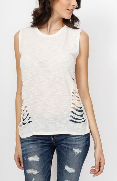 Ivory Slash Ripped Heathered Muscle Tank
