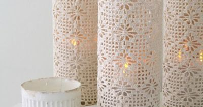 Crochet Lace Covered Hurricane Candle Holders. >>>> USE UP THOSE DOILY RUNNERS ( or get them cheap at Dollar Stores and Thrift Shops )..... done in a snap ! Cut to size, Roll and Glue. Add Candle or Battery operated tea lights.