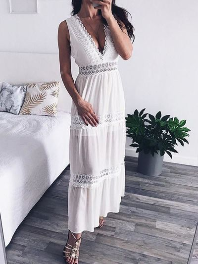 V Neck White Lace Sexy Backless Elegant Hollow Out Maxi Party Dress $35.54