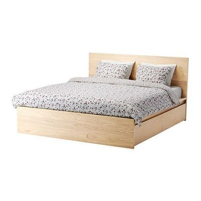 IKEA - MALM, High bed frame/4 storage boxes, Queen, Luröy, , The 4 large drawers on casters give you an extra storage space under the bed.Real wood veneer will make this bed age gracefully.Adjustable bed sides allow you to use mattresses of different thi...