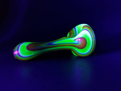 Rainbow and UV Reactive Glass Spoon Tobacco Pipe $49.00