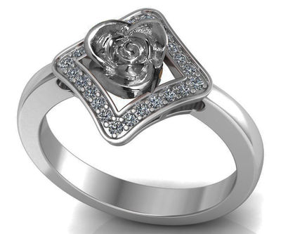 Silver Love Ring Flower Ring Promise Ring Unique Engagement Ring with Side Diamonds Floral ring Birthday Gift For Her $333.00