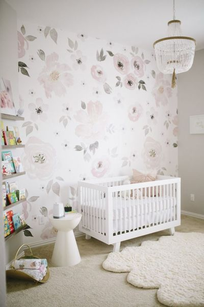 A floral whimsy nursery. My jumping off point was the gorgeous Jolie Wallpaper from The Project Nursery Shop. Heart eyes for days!